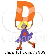 Royalty Free RF Clipart Illustration Of An Alphabet Kid Holding A Letter Girl Holding D by Prawny