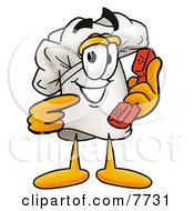 Clipart Picture Of A Chefs Hat Mascot Cartoon Character Holding A Telephone by Toons4Biz