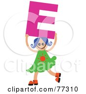 Royalty Free RF Clipart Illustration Of An Alphabet Kid Holding A Letter Girl Holding E by Prawny