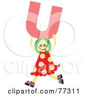 Royalty Free RF Clipart Illustration Of An Alphabet Kid Holding A Letter Girl Holding U by Prawny