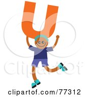 Royalty Free RF Clipart Illustration Of An Alphabet Kid Holding A Letter Boy Holding U by Prawny