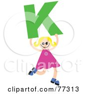 Royalty Free RF Clipart Illustration Of An Alphabet Kid Holding A Letter Girl Holding K by Prawny