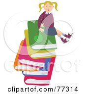 Royalty Free RF Clipart Illustration Of A Happy Blond School Girl Sitting On A Stack Of Large Books by Prawny