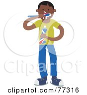 Royalty Free RF Clipart Illustration Of A Hispanic Boy Brushing His Teeth