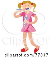 Royalty Free RF Clipart Illustration Of A Blond Caucasian Girl Brushing Her Teeth