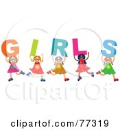 Royalty Free RF Clipart Illustration Of A Diverse Group Of Kids Spelling Girls
