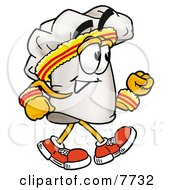 Clipart Picture Of A Chefs Hat Mascot Cartoon Character Speed Walking Or Jogging