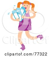 Royalty Free RF Clipart Illustration Of A Little Girl Carrying Many Glasses Of Water