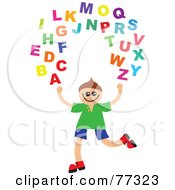 Royalty Free RF Clipart Illustration Of A Happy Boy Juggling The Alphabet by Prawny