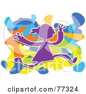Royalty Free RF Clipart Illustration Of A Purple Girl Silhouette Running Over A Funky Colorful Splatter by Prawny