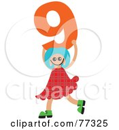 Royalty Free RF Clipart Illustration Of A Number Kid Girl Holding 9 by Prawny