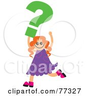 Royalty Free RF Clipart Illustration Of A Happy Girl Carrying A Green Question Mark by Prawny