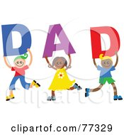 Royalty Free RF Clipart Illustration Of Three Children Holding Letters Spelling Out Dad by Prawny