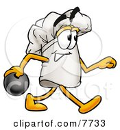 Clipart Picture Of A Chefs Hat Mascot Cartoon Character Holding A Bowling Ball by Toons4Biz