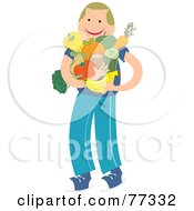 Royalty Free RF Clipart Illustration Of A Happy Boy With His Arms Full Of Fruits And Veggies by Prawny