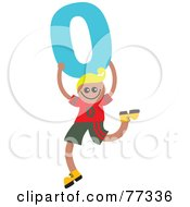 Royalty Free RF Clipart Illustration Of A Number Kid Boy Holding 0