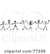 Royalty Free RF Clipart Illustration Of A Chain Of Black And White Kids Holding Hands