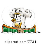 Clipart Picture Of A Chefs Hat Mascot Cartoon Character Rowing A Boat by Toons4Biz