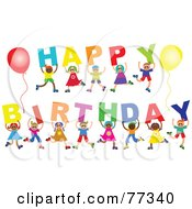 Royalty Free RF Clipart Illustration Of A Diverse Group Of Children Spelling Out Happy Birthday