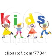 Royalty Free RF Clipart Illustration Of A Group Of Diverse Children Spelling Kids