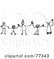 Royalty Free RF Clipart Illustration Of A Black And White Chain Of Stick Children Holding Hands
