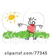 Royalty Free RF Clip Art Illustration Of A Stick Boy Standing In Grass On A Sunny Day