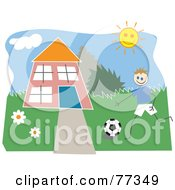 Royalty Free RF Clipart Illustration Of A Boy Playing Soccer In The Front Yard Of A Home