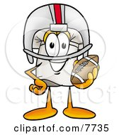Clipart Picture Of A Chefs Hat Mascot Cartoon Character In A Helmet Holding A Football