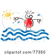Royalty Free RF Clipart Illustration Of A Stick Boy Standing In Water On A Sunny Day by Prawny