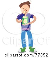 Royalty Free RF Clipart Illustration Of A Hungry Boy Eating A Bag Of Chips Or Crisps by Prawny