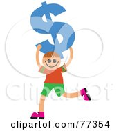 Royalty Free RF Clipart Illustration Of A Happy Smiling Boy Carrying A Blue Dollar Symbol by Prawny