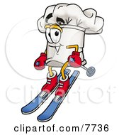 Clipart Picture Of A Chefs Hat Mascot Cartoon Character Skiing Downhill by Toons4Biz