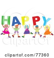 Royalty Free RF Clipart Illustration Of A Group Of Diverse Children Spelling Happy