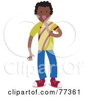 Royalty Free RF Clipart Illustration Of A Boy Holding A Finger To His Lips