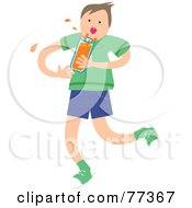 Royalty Free RF Clipart Illustration Of A Boy Splashing A Glass Of Orange Juice Or Orange Soda by Prawny