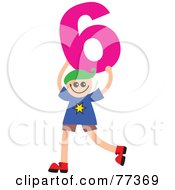 Royalty Free RF Clipart Illustration Of A Number Kid Boy Holding 6 by Prawny