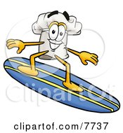 Clipart Picture Of A Chefs Hat Mascot Cartoon Character Surfing On A Blue And Yellow Surfboard
