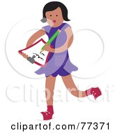 Royalty Free RF Clipart Illustration Of A Little Girl Writing A Thank You Letter On A Clipboard by Prawny