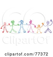 Royalty Free RF Clipart Illustration Of A Colorful Chain Of Stick Children Holding Hands by Prawny #COLLC77372-0089
