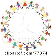 Royalty Free RF Clipart Illustration Of A Diverse Circle Of Happy Children Holding Hands