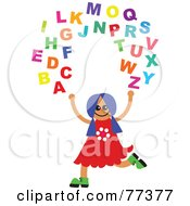 Royalty Free RF Clipart Illustration Of A Happy Girl Juggling The Alphabet by Prawny