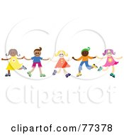 Royalty Free RF Clipart Illustration Of A Group Of Happy Diverse Children Dancing And Holding Hands