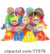 Royalty Free RF Clipart Illustration Of A Posing Group Of Happy Diverse Children Smiling by Prawny