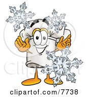 Clipart Picture Of A Chefs Hat Mascot Cartoon Character With Three Snowflakes In Winter