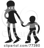 Royalty Free RF Clipart Illustration Of A Silhouetted Sister Holding Hands With Her Little Brother
