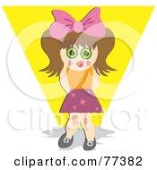 Royalty Free RF Clipart Illustration Of A Shy Brunette Girl In The Spot Light