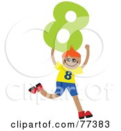 Royalty Free RF Clipart Illustration Of A Number Kid Boy Holding 8 by Prawny