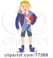 Blond School Boy Carrying A Red Book