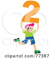 Royalty Free RF Clipart Illustration Of A Number Kid Boy Holding 2 by Prawny