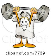 Clipart Picture Of A Chefs Hat Mascot Cartoon Character Holding A Heavy Barbell Above His Head by Toons4Biz